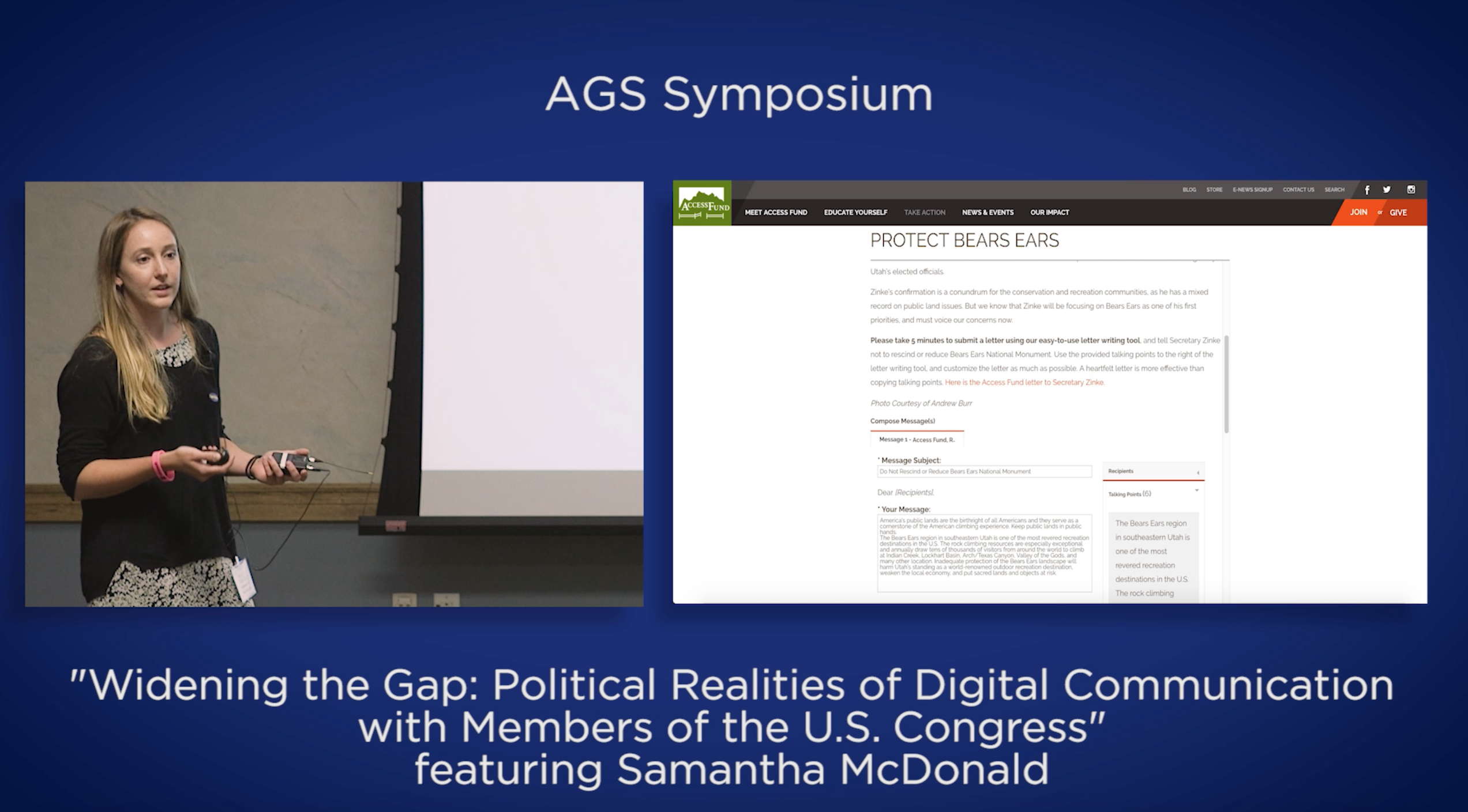 Screenshot of my talk at the AGS Symposium
